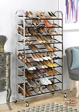 50 Pair 10 Tier Shoe Tower Rack Organizer Rolling Free Standing Chrome Metal New
