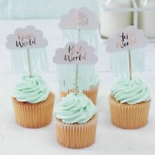 Baby Shower Cake Toppers X 10 - Rose Gold / MINT Hello World Party Ginger Ray