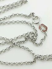 "10k Solid White Gold Round Rolo Link Necklace Pendant Chain 18"" 1.9mm"