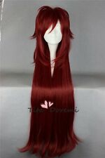 BLACK BUTLER Grell Sutcliff Long Straight Red Anime Cosplay Wig Hair Full Wigs