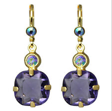 KIRKS FOLLY TWINKLE TWINKLE LEVERBACK EARRINGS   tanzanite / goldtone