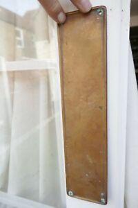 Antique Bronze Single Door Finger Plate Raised Edging 1920s For Old Period Door