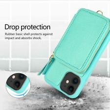 iPhone 11 Wallet Case Shockproof Leather Card Slot Zipper Purse Cover Mint Green
