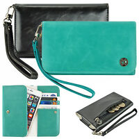 Women Cute Clutch Wrist Strap Flip Wallet Case for Verizon Wireless Smartphone