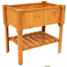 Raised Garden Bed Flower Box Kit Wood Planter Elevated Stand Herb Vegetable Soil