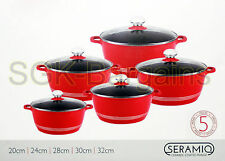 INDUCTION COOKWARE 5PC NON STICK CERAMIC COATED DIE-CAST CASSEROLE SET RED