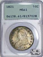 "1821 Capped Bust Half Dollar PCGS MS-61; Premium Quality, ""Rattler"""