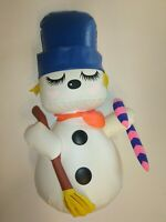 "Vintage Snowman IDEAL TOYS 1960s  Plastic Blow UP INFLATABLE TOY  11"" Christmas"