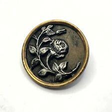 """Victorian metal steel on brass 1"""" button"""