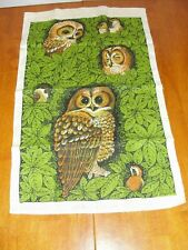 Vintage Large 70s Linen Fabric Cloth Owl Towel Wall Hanging