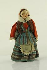 Vintage Pressed Mold Face Fabic Body Lenci Type Middle East Ethnic Costume Doll