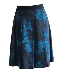 Jigsaw Designer Women's Blue & Black Pleated Silk Floral Skirt  UK 12 RRP £130