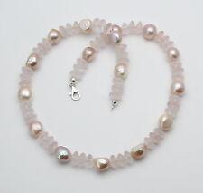 Rosenquarzkette mit Süßwasser-perlen in 51 cm Länge