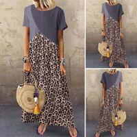 Women Loose Short Sleeve Leopard Vintage Party Club Dresses Long Maxi Dress New