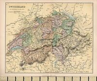 C1880 Victoriano Mapa ~ Suiza & The Passes De Alps