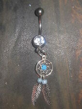 USA 316 SURGICAL STEEL 925 STERLING SILVER DREAMCATCHER 14 GAUGE CZ BELLY RING