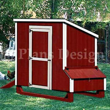 4'x7' Lean-To Style Chicken Poultry Coop Plans, 90407L