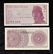World Paper Money - Indonesia 5 Sen 1964 @ UNC
