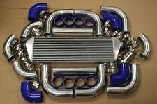 CHROME FIMC INTERCOOLER & TURBO PIPING KIT BLUE SILICONE COUPLERS T-BOLT CLAMPS