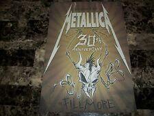 Kirk Hammett Metallica Signed 30th Anniversary Concert Show Poster Fillmore COA