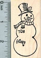 Snowman Gift Tag Rubber Stamp, with To and From, Christmas Series J33304 WM