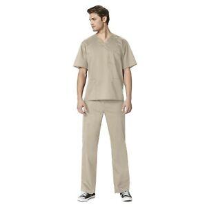 WonderWink Scrubs Set WORK Men's Multi-Pocket Top & Straight Cargo Pant 103/503