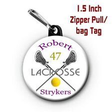 Two Personalized 1.5 Inch Lacrosse Zipper Pull/Bag Tags with Name, Team, Colors