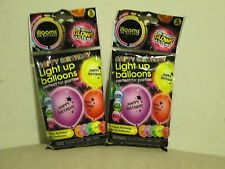 New 2 Illooms Printed Happy Birthday Light-Up LED Balloons  5pk  Mixed Colors