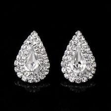 Women Silver Rhinestone Crystal Waterdrop Shape Stud Earrings Wedding Party Gift