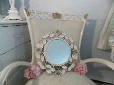 Shabby Vintage Chic White Tole Rose Metal Round Wall Accent Mirror