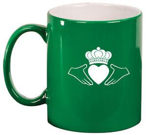 11oz Ceramic Coffee Tea Mug Glass Cup Irish Claddagh