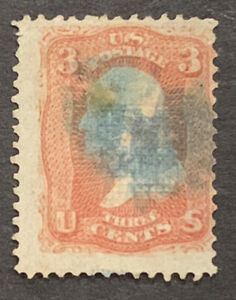 Travelstamps: 1868 US Stamps SC#94 3c Washington F Grill used NG