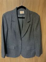 Vintage Women's Pendleton Gray 100% Virgin Wool Button Blazer Size 16 Jacket