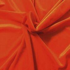 "Tangerine Orange Velvet No Stretch Fabric Material 60""W Craft Upholstery Drapes"