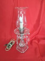 "VTG CRYSTAL/GLASS HURRICANE ELECTRIC TABLE/BOUDOIR LAMPw/7 SPEAR HEAD PRISMS 14"""