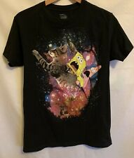Nickelodeon Men's Spongebob Patrick Riding Cat in Space Black T-Shirt Size Small