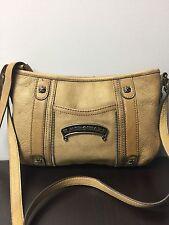 B. Makowsky Tan Leather Crossbody Messenger Handbag