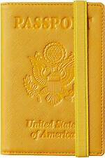 RFID Blocking Leather Passport Holder Travel Wallet Elastic Strap - COAL YELLOW