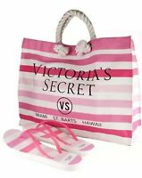 Victoria's Secret Pink Striped Beach Tote Bag & Matching Flip Flops (S) 6/7 NWT