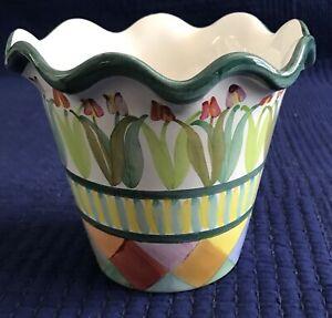 """Retired MACKENZIE-CHILDS Poplar Ridge 5"""" Ceramic FLOWER POT Ruffled Edge 2009"""