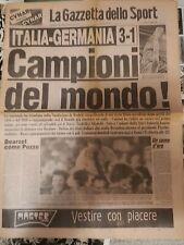 LA GAZZETTA DELLO SPORT ITALIA GERMANIA 12/ 07/82 CAMPIONI DEL MONDO