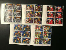 Gb Qeii Sg 1634-1638 Christmas Set Cylinder Blocks of 6 1992 Stamps Mnh