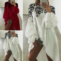 Women Floral Long Puff Sleeve Tops Shirt Ladies High Low Loose Asymmetric Blouse