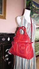 L'incontro Italy Red Soft Leather Cross Body Travel Overnight Shoulder Bag EUC