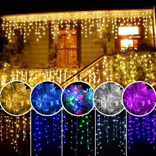 US 13ft 96LED Hanging Icicle Curtain Light Indoor Fairy Xmas String Wedding Lamp