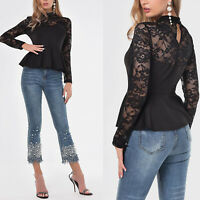 Sexy Women Casual High Neck Lace top Long Sleeve Floral Elegant Knitting Blouse
