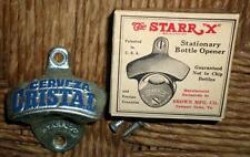 """NOS Vintage Starr X """"Cerveza Cristal"""" Metal Bottle Opener w/Box & Screws NICE L5"""
