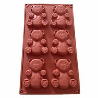 6 Cavity Teddy Bear Silicone Decorating Moulds Candy Cookie Chocolate Baking Mol