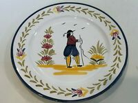 "Vintage Sur La Table Handpainted Portugal Dinner Plate,  Standing Man, 10"" D"