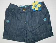 New NEXT UK Girls Denim Flower Applique Shorts Cuffed 4T 5T 110cm NWT Short